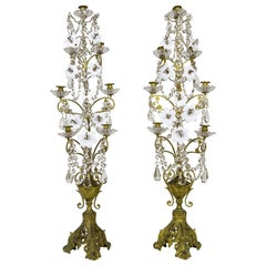 Tall 7-Candle Girandole with Crystals and Milk Glass Flowers, 'Pair'