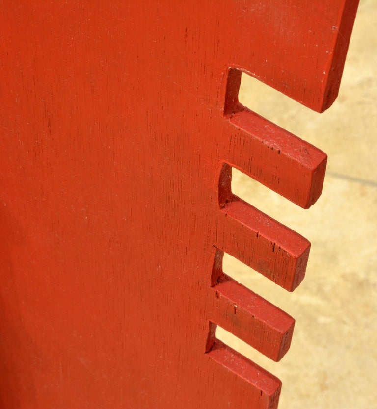 Tall Abstract Red Wood Sculpture by Edward Toledano, British, 20th Century For Sale 5
