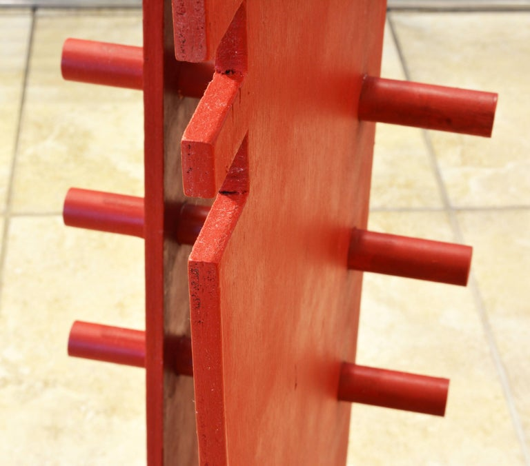Tall Abstract Red Wood Sculpture by Edward Toledano, British, 20th Century For Sale 8