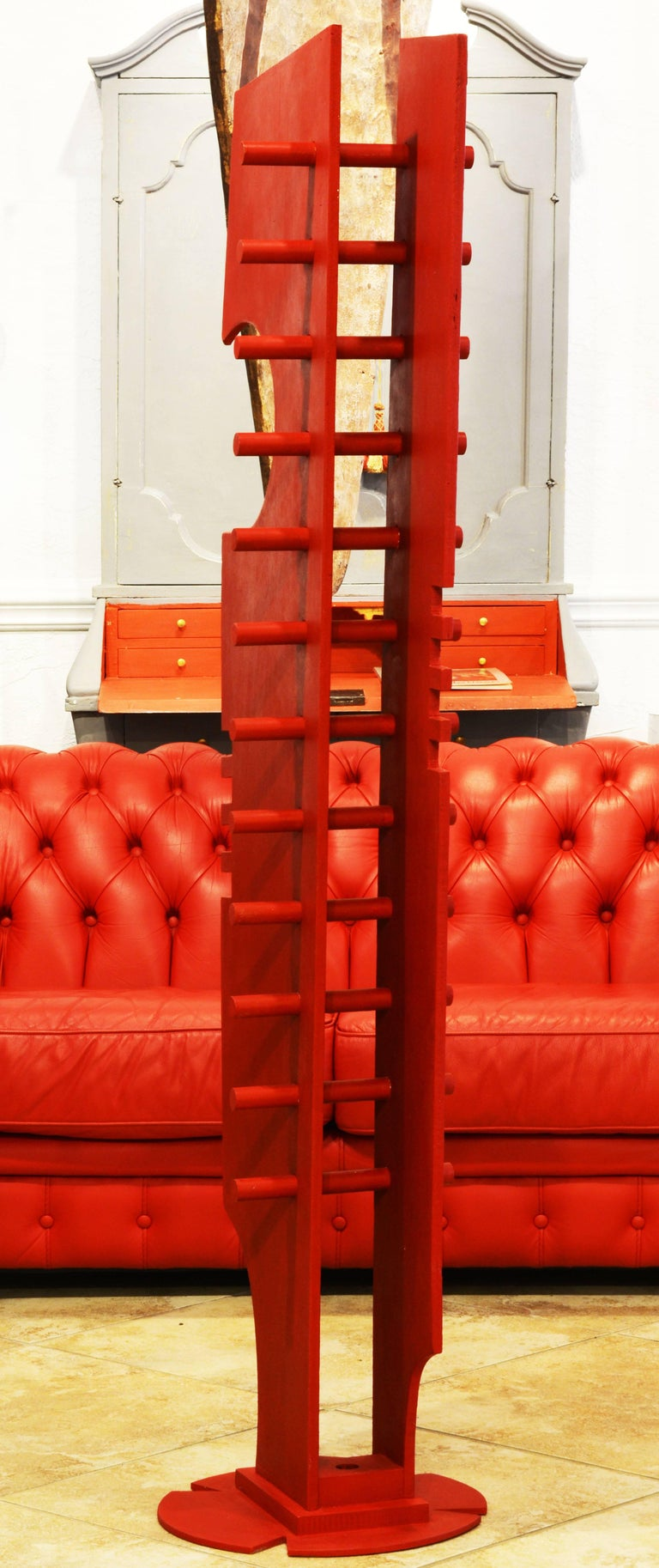 Modern Tall Abstract Red Wood Sculpture by Edward Toledano, British, 20th Century For Sale