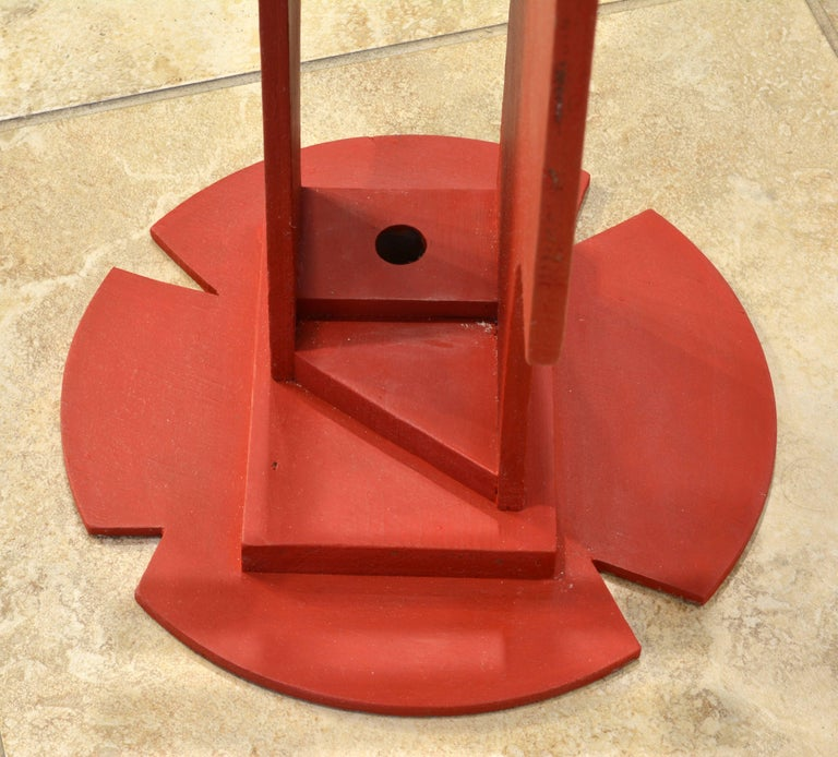 Tall Abstract Red Wood Sculpture by Edward Toledano, British, 20th Century For Sale 3