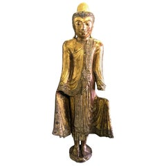 Tall Aged Carved Wood and Gilt Standing Temple Shrine Buddha, Early 20th Century