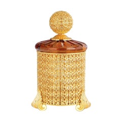 Tall Amber Cylindrical Box with Lid