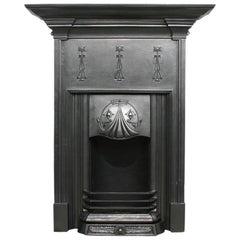 Tall and Elegant Reclaimed Edwardian Art Nouveau Cast Iron Fireplace