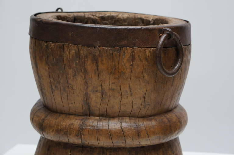 18th Century and Earlier Tall and Heavy Elmwood Mortar, 17th or 18th Century For Sale