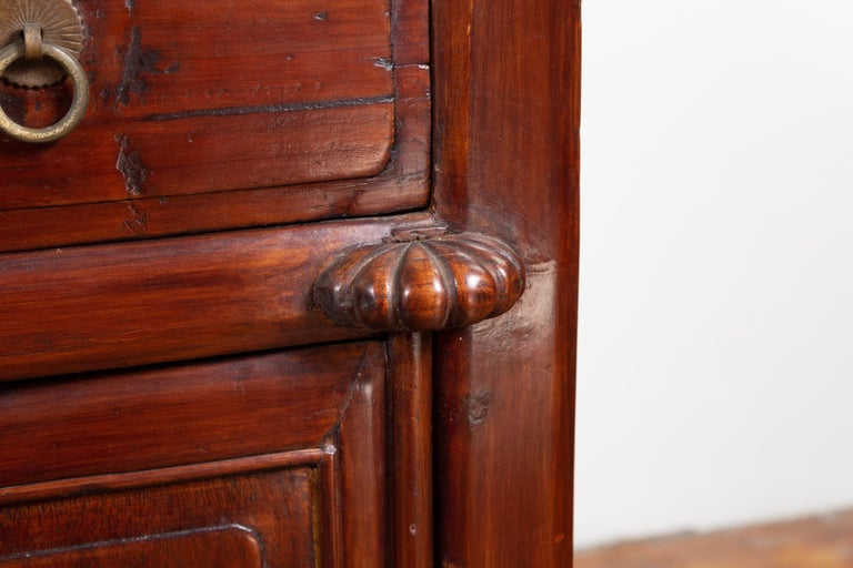 Tall Antique Chinese Two-Part Lacquered Cabinet with Shelves, Doors and Drawers For Sale 5