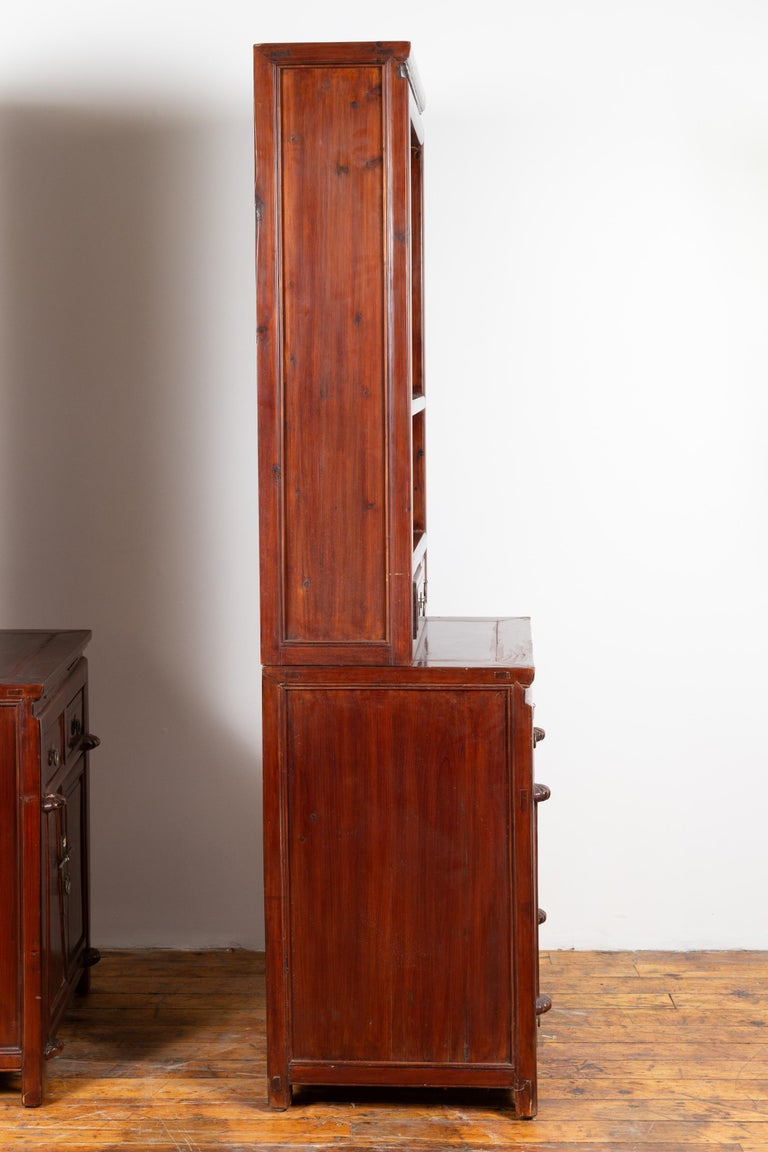 Tall Antique Chinese Two-Part Lacquered Cabinet with Shelves, Doors and Drawers For Sale 7