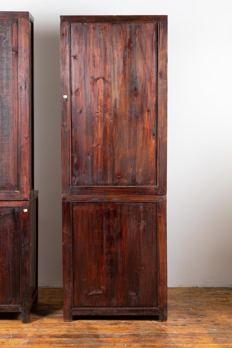Tall Antique Chinese Two-Part Lacquered Cabinet with Shelves, Doors and Drawers For Sale 8