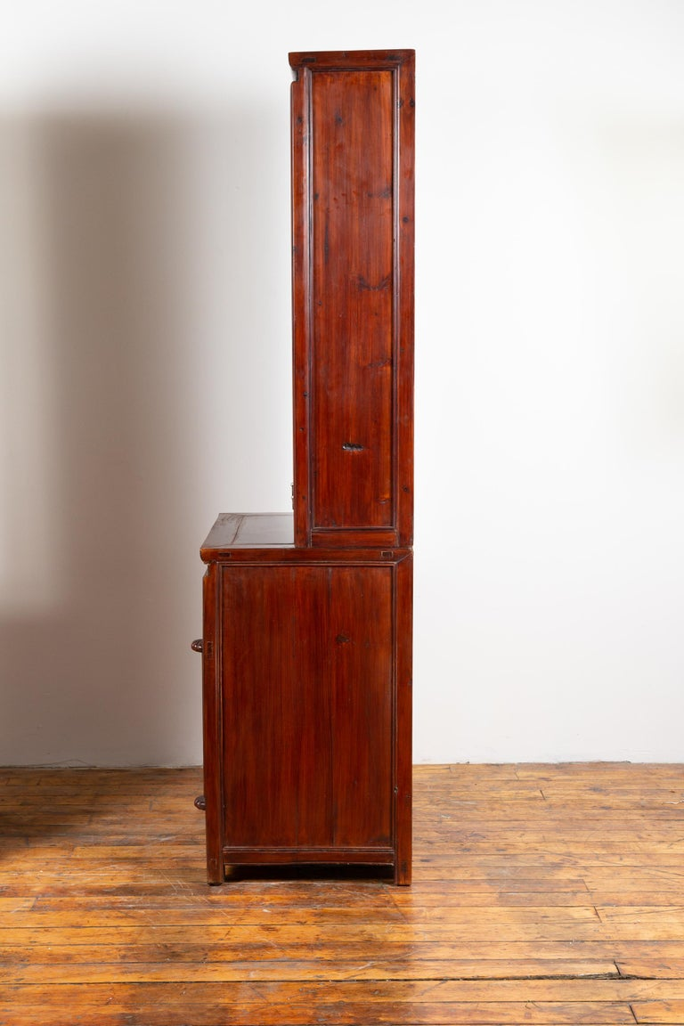 Tall Antique Chinese Two-Part Lacquered Cabinet with Shelves, Doors and Drawers For Sale 9