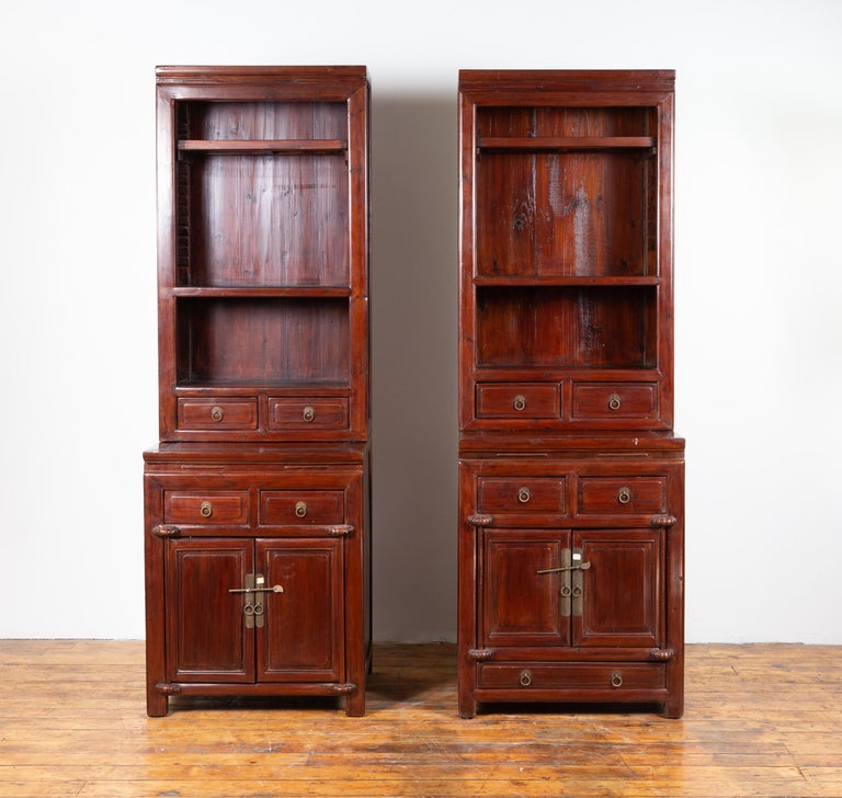 Tall Antique Chinese Two-Part Lacquered Cabinet with Shelves, Doors and Drawers In Good Condition For Sale In Yonkers, NY