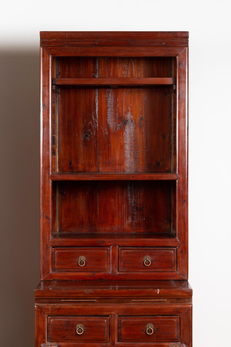 20th Century Tall Antique Chinese Two-Part Lacquered Cabinet with Shelves, Doors and Drawers For Sale