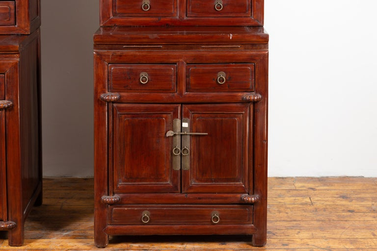 Tall Antique Chinese Two-Part Lacquered Cabinet with Shelves, Doors and Drawers For Sale 1
