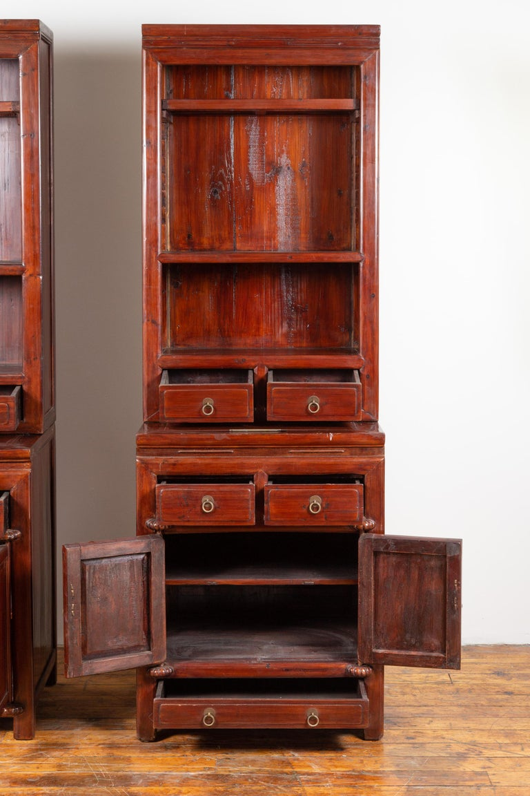 Tall Antique Chinese Two-Part Lacquered Cabinet with Shelves, Doors and Drawers For Sale 2