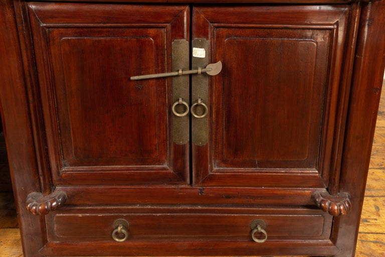 Tall Antique Chinese Two-Part Lacquered Cabinet with Shelves, Doors and Drawers For Sale 4