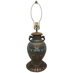 Tall Antique Cloisonné Table Lamp