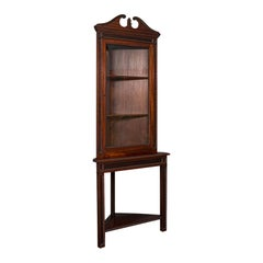 Tall Antique Corner Cabinet on Stand, English, Mahogany, Display Cupboard, 1900