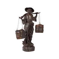 Tall Antique Decorative Figure, Chinese, Bronze, Statue, Water Carrier