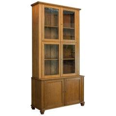 Tall Antique Display Cabinet English Edwardian Oak Glazed Bookcase, circa 1910