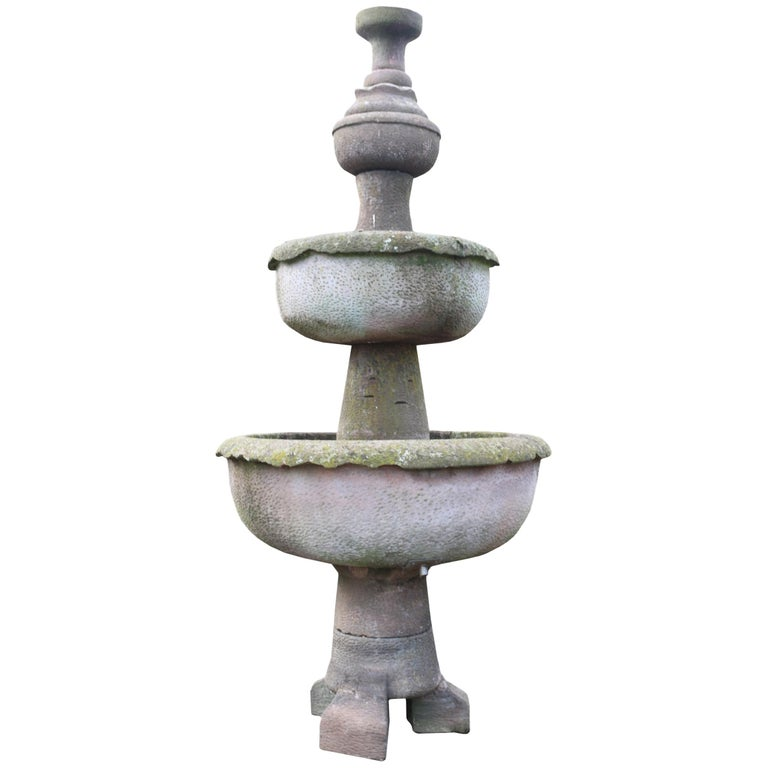 Tall Antique English Sandstone Garden Fountain For Sale