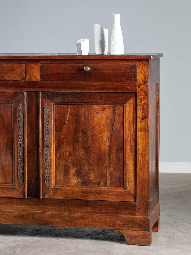 Forged Tall Antique French Walnut Buffet Credenza, circa 1820 For Sale