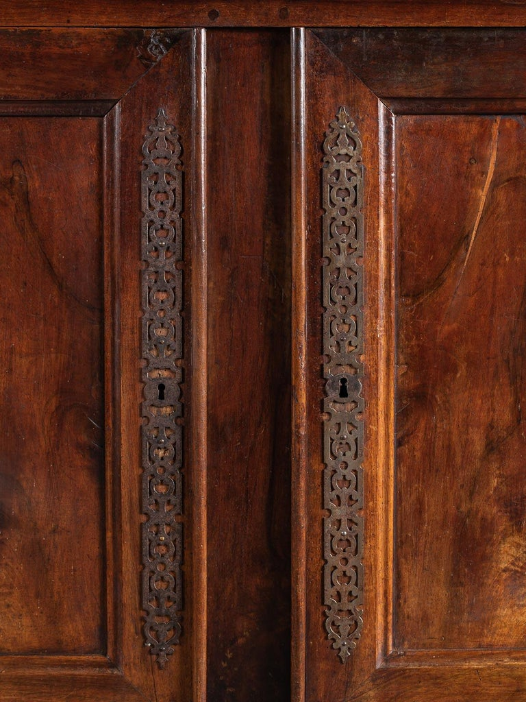 19th Century Tall Antique French Walnut Buffet Credenza, circa 1820 For Sale