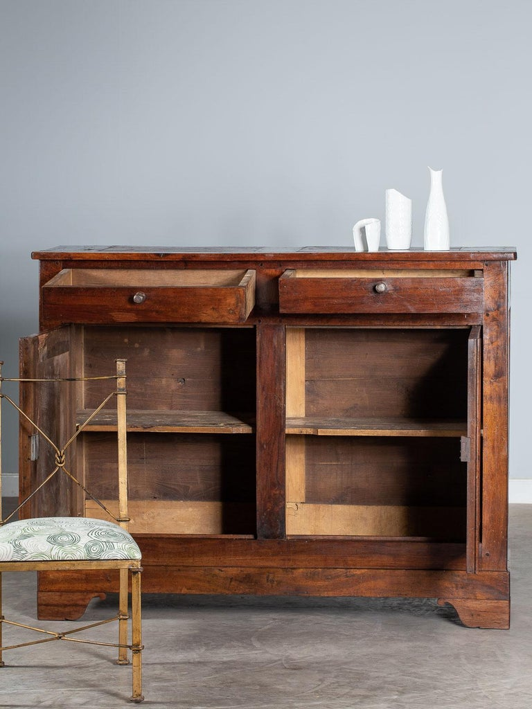 Iron Tall Antique French Walnut Buffet Credenza, circa 1820 For Sale