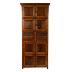 Tall Antique Javanese Teak Wood Cabinet with Four Double Doors and Drawers
