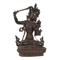 Tall Antique Manjushri Statue, Oriental, Bronze Figure, Seated Deity, circa 1900