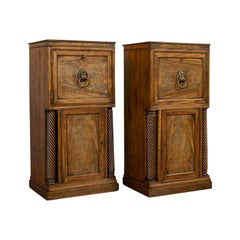 Tall, Antique Pair of Regency Side Cabinets, English, Mahogany, Nightstand