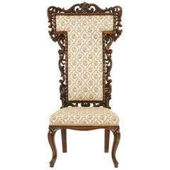 Tall Antique Prayer Chair, Walnut Chair, Victorian, Prie Dieu, 1870