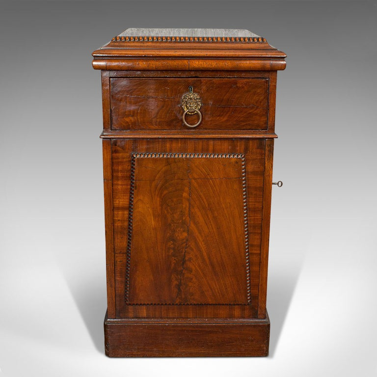 This is a tall antique side cabinet. An English, mahogany drawing room cabinet or bedside nightstand, dating to the Regency period, circa 1820.