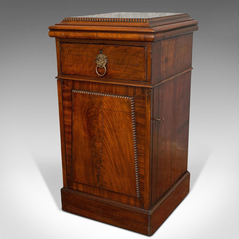 British Tall Antique Side Cabinet, English, Mahogany, Bedside, Nightstand, Regency, 1820 For Sale