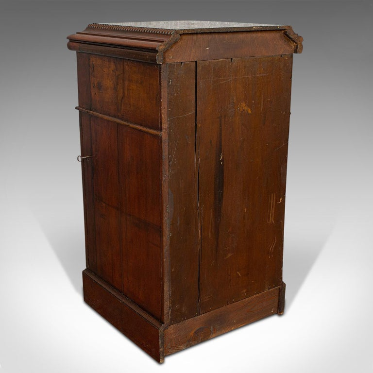 Tall Antique Side Cabinet, English, Mahogany, Bedside, Nightstand, Regency, 1820 For Sale 1
