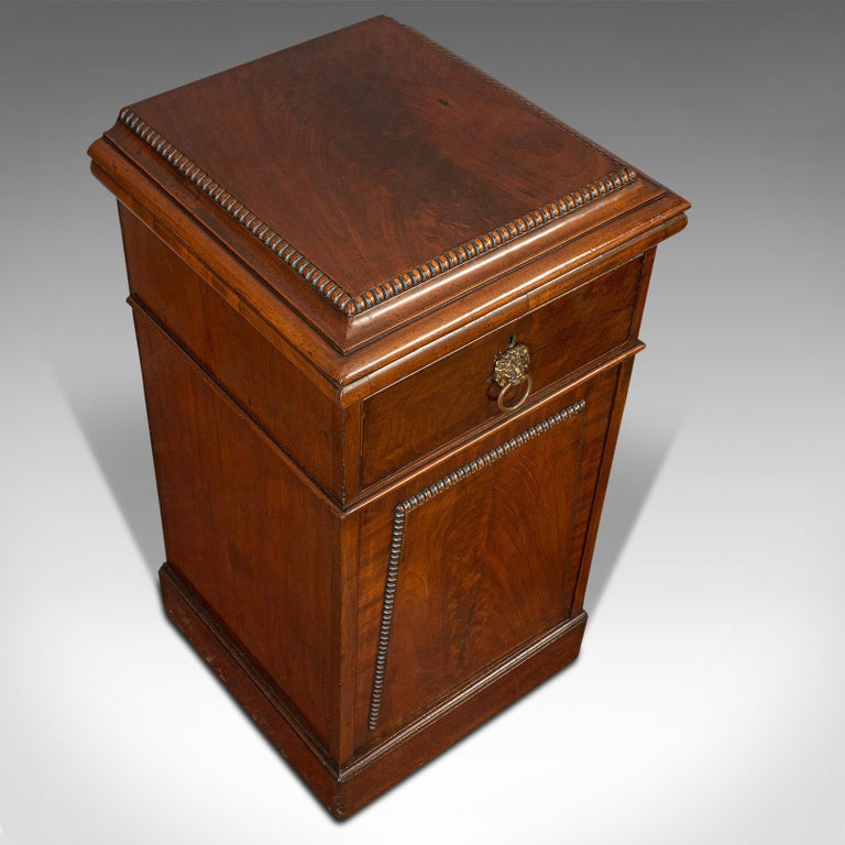 Tall Antique Side Cabinet, English, Mahogany, Bedside, Nightstand, Regency, 1820 For Sale 2