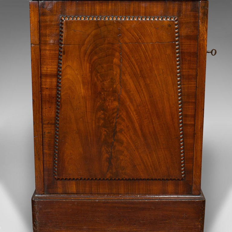 Tall Antique Side Cabinet, English, Mahogany, Bedside, Nightstand, Regency, 1820 For Sale 4