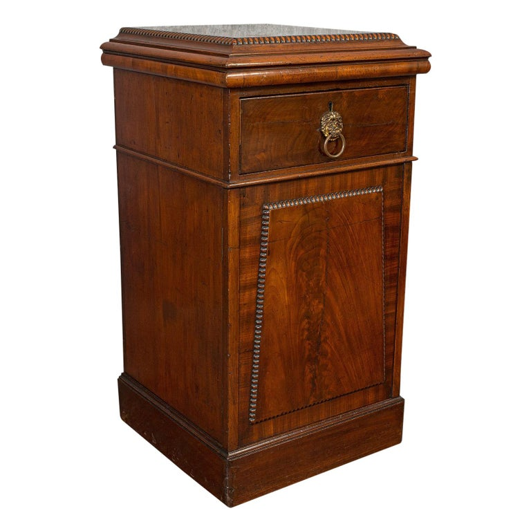 Tall Antique Side Cabinet, English, Mahogany, Bedside, Nightstand, Regency, 1820 For Sale