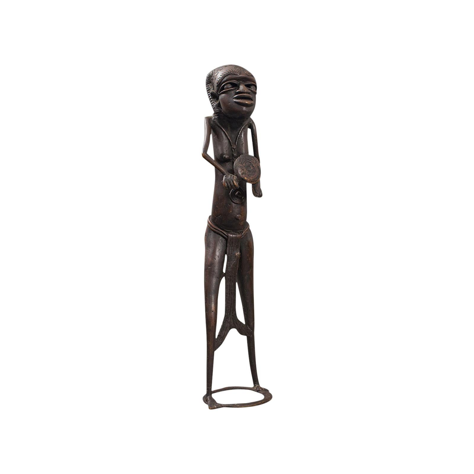 Tall Antique Tribal Figure, West African, Benin Kingdom, Female Statue
