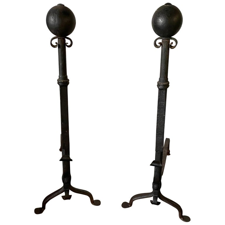 Tall Antique Wrought Iron Andirons For Sale