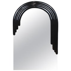 """Tall Arched Banded Black Art Deco """"Monarch"""" Mirror by Vanguard Studios"""