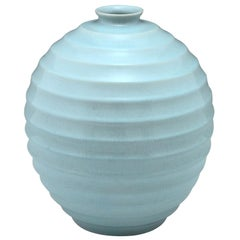 Tall Art Deco Ceramic Spherical Vase Light Blue Villeroy & Boch 1930