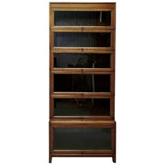 Tall Art Deco Golden Oak Barrister Waterfall Bookcase, Made by Gumm