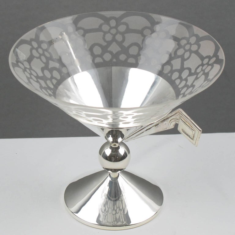 French Tall Art Deco Silver Plate and Etched Glass Chalice Centerpiece Bowl For Sale