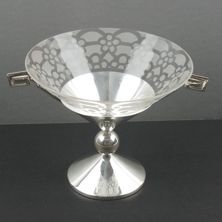 Tall Art Deco Silver Plate and Etched Glass Chalice Centerpiece Bowl For Sale 2
