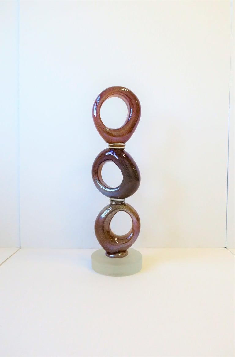 Contemporary Tall Art Glass Sculpture Piece, circa 2000s For Sale