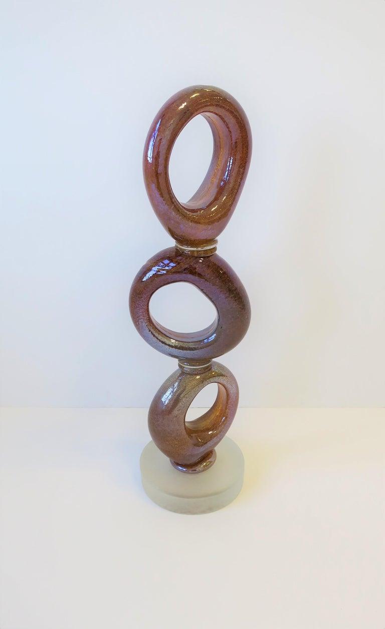 Tall Art Glass Sculpture Piece, circa 2000s For Sale 1