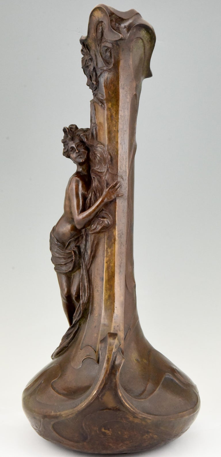 Patinated Tall Art Nouveau Bronze Vase Lady at a Fountain Lucas Madrassi, France, 1900 For Sale