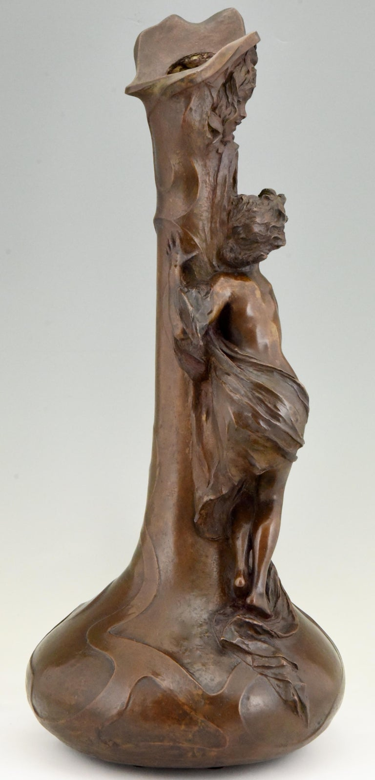 20th Century Tall Art Nouveau Bronze Vase Lady at a Fountain Lucas Madrassi, France, 1900 For Sale