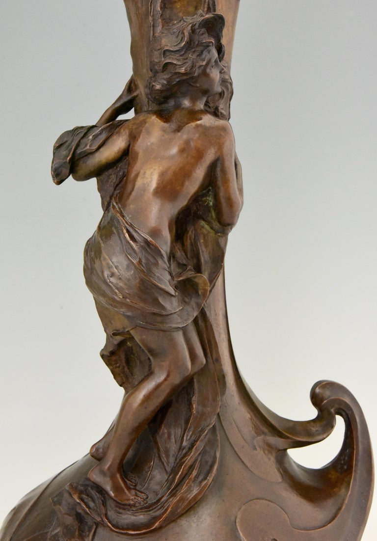 Tall Art Nouveau Bronze Vase Lady at a Fountain Lucas Madrassi, France, 1900 For Sale 2