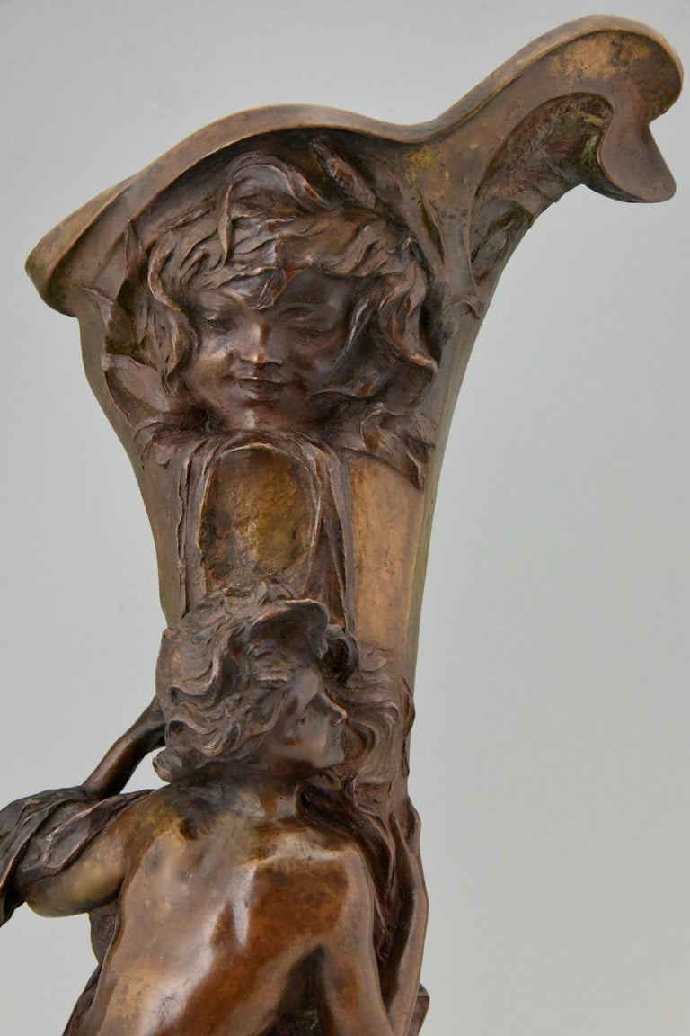 Tall Art Nouveau Bronze Vase Lady at a Fountain Lucas Madrassi, France, 1900 For Sale 3