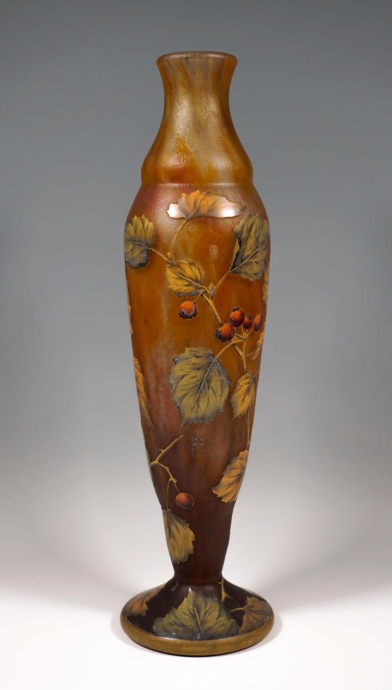 Etched Tall Art Nouveau Cameo Vase with Rose Hip Decor, Daum Nancy, France, 1910/15 For Sale